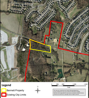 A map shows the property on Long Lane that could be annexed into the City of Franklin to make way for a new facility that would house the Refuge Center, a counseling service in Williamson County. The red line shows the existing city limits.