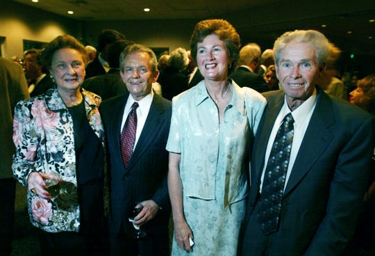 Elise Steiner, left, Charlie Cardwell, Janet Jernigan and French Jernigan attend the Crown Affair benefit for Senior Citizens, Inc. May 1, 2004.
