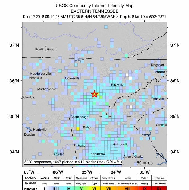 East Tennessee earthquake felt as a far as Nashville, Atlanta