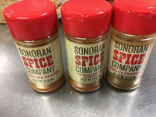 The spices that 400 Degrees hot chicken restaurant uses for its hottest dishes. From left to right, Carolina Reaper, Trinidad Moruga Scorpion and Ghost Pepper.