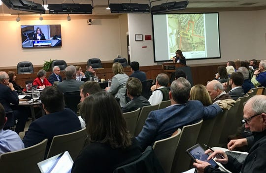Amy Alexander, executive director of the Refuge Center, speaks during the Franklin Board of Mayor and Aldermen's work session on Dec. 11 about a proposed annexation of a property into the city limits that could allow for the center to build a new facility on site in the future.