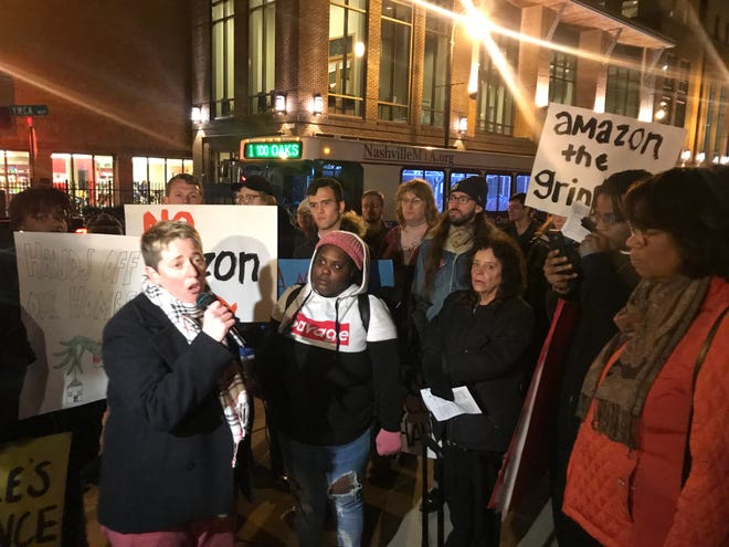 Protesters organize in downtown Nashville to take aim at Amazon's new hub planned in Davidson County.