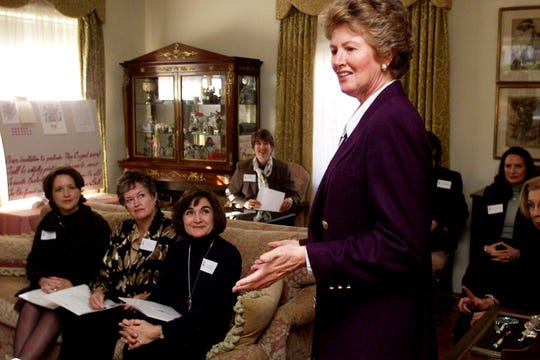 Janet Jernigan speaks at the kickoff for the Crown Ball Jan. 27, 2000.
