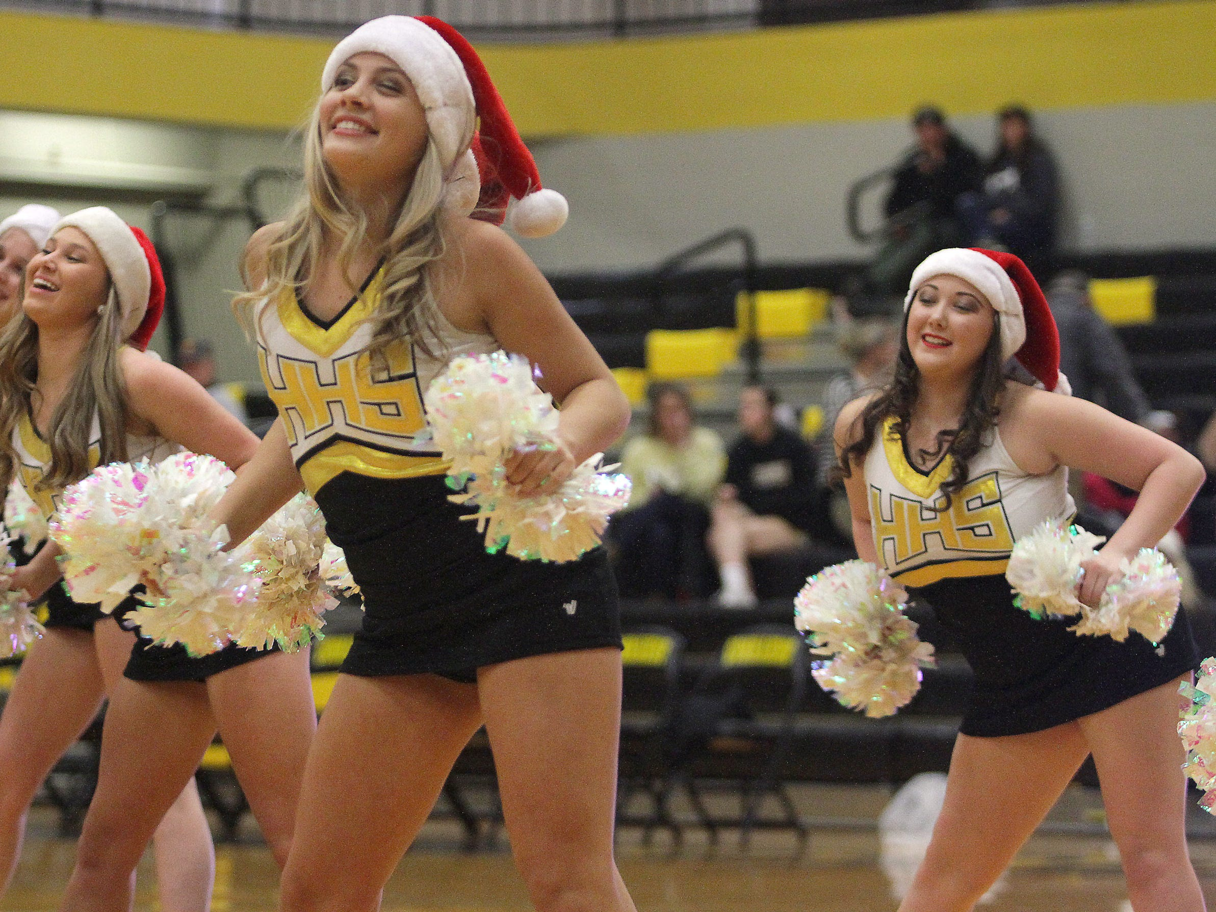 The Hendersonville High  Golden Girls Dance team performs at halftime at the game bewtween Lebanon and Hendersonville on Tuesday, December 11, 2018.