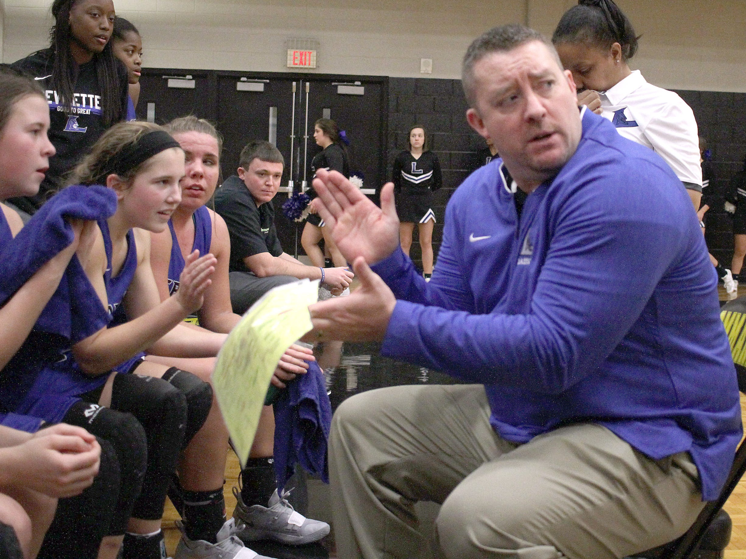 Lebanon coach Corry Barrett talks with his team as they visit Hendersonville on Tuesday, December 11, 2018.