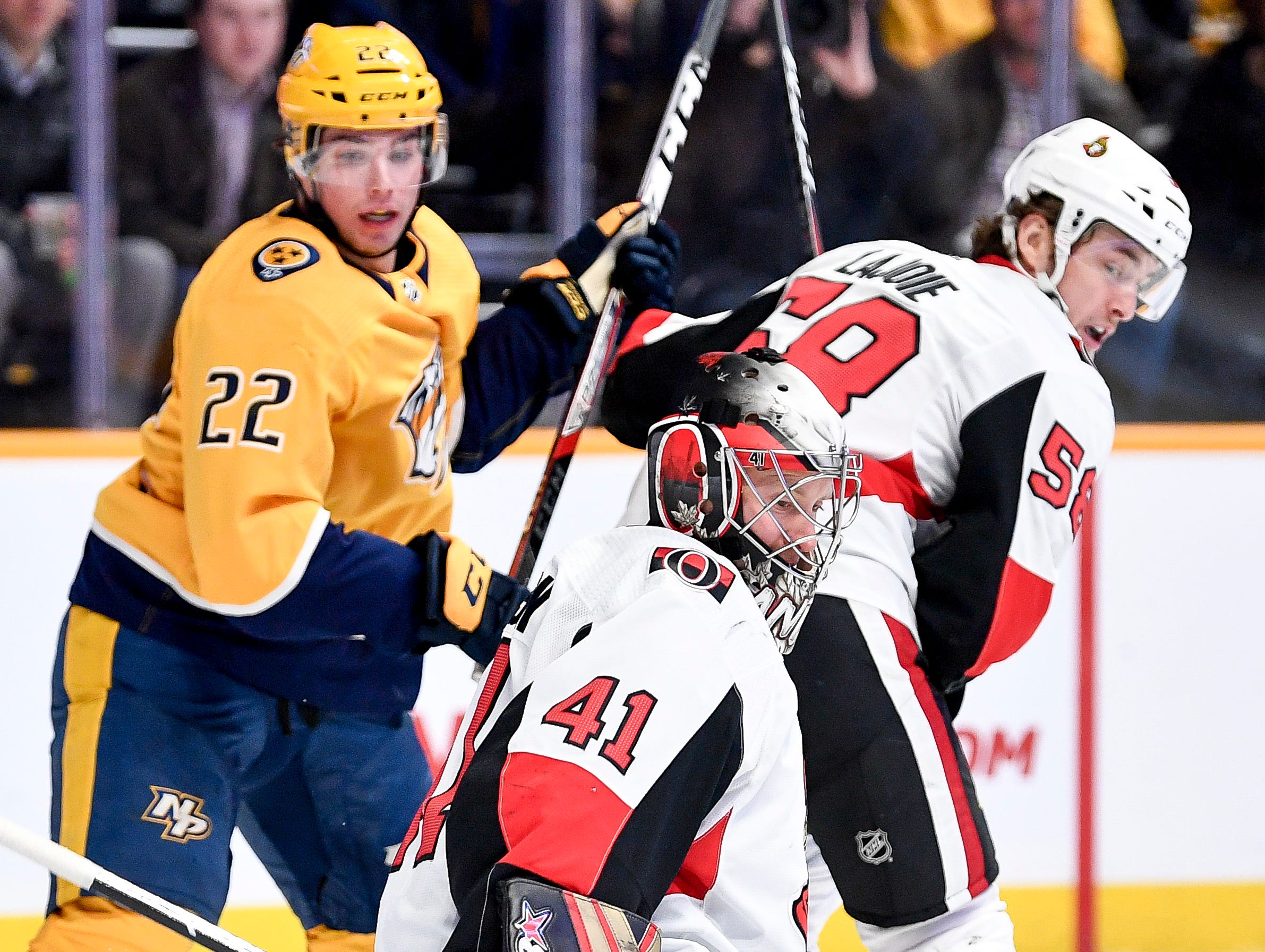 Ottawa Senators goaltender Craig Anderson (41) blocks a shot against the Nashville Predators during the first period at Bridgestone Arena in Nashville, Tenn., Tuesday, Dec. 11, 2018.
