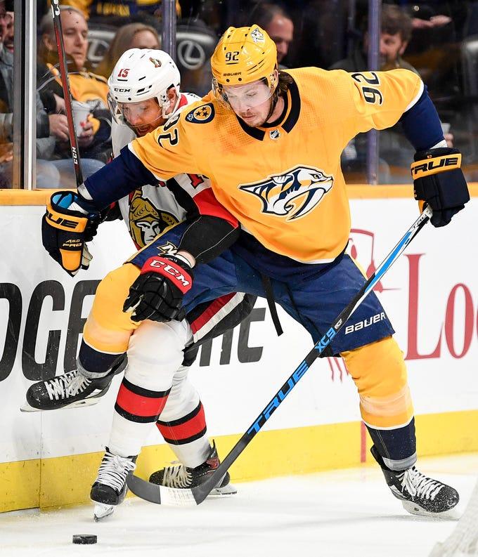 Dec. 11: Predators 3, Senators 1 -- Nashville Predators center Ryan Johansen (92) collides into Ottawa Senators left wing Zack Smith (15) during the first period at Bridgestone Arena in Nashville, Tenn., Tuesday, Dec. 11, 2018.