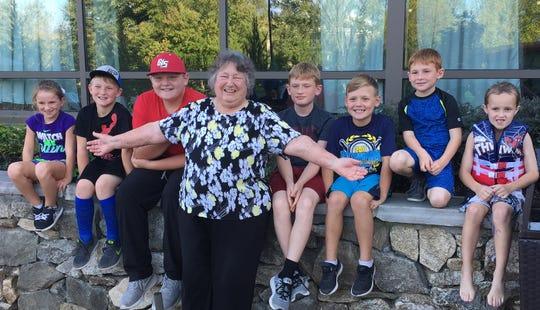 Mrs. Charlene Varden with all her great grandchildren (l-r) Lila Varden, Brysen Varden, Dylan Hudson, Charlene Varden, Leighton Varden, Carter Hudson, Arlan Varden and Logan Johnson.
