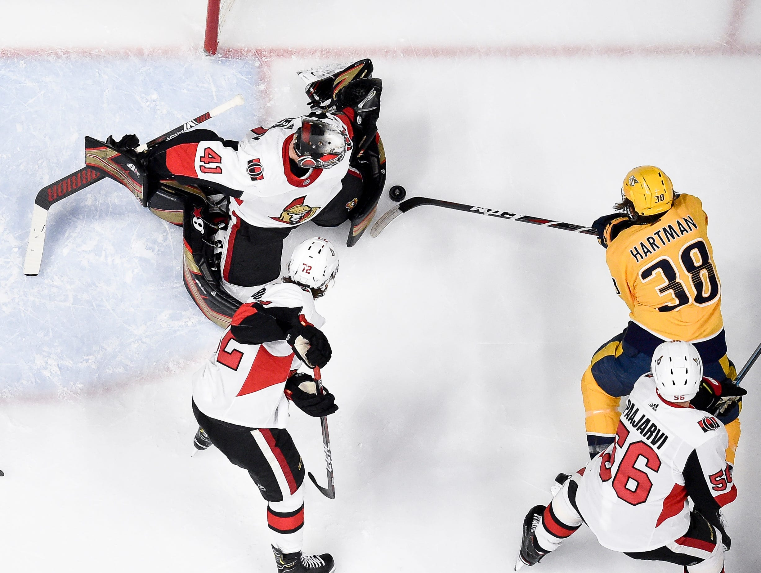 Ottawa Senators goaltender Craig Anderson (41) defends against Nashville Predators right wing Ryan Hartman (38) during the second period at Bridgestone Arena in Nashville, Tenn., Tuesday, Dec. 11, 2018.