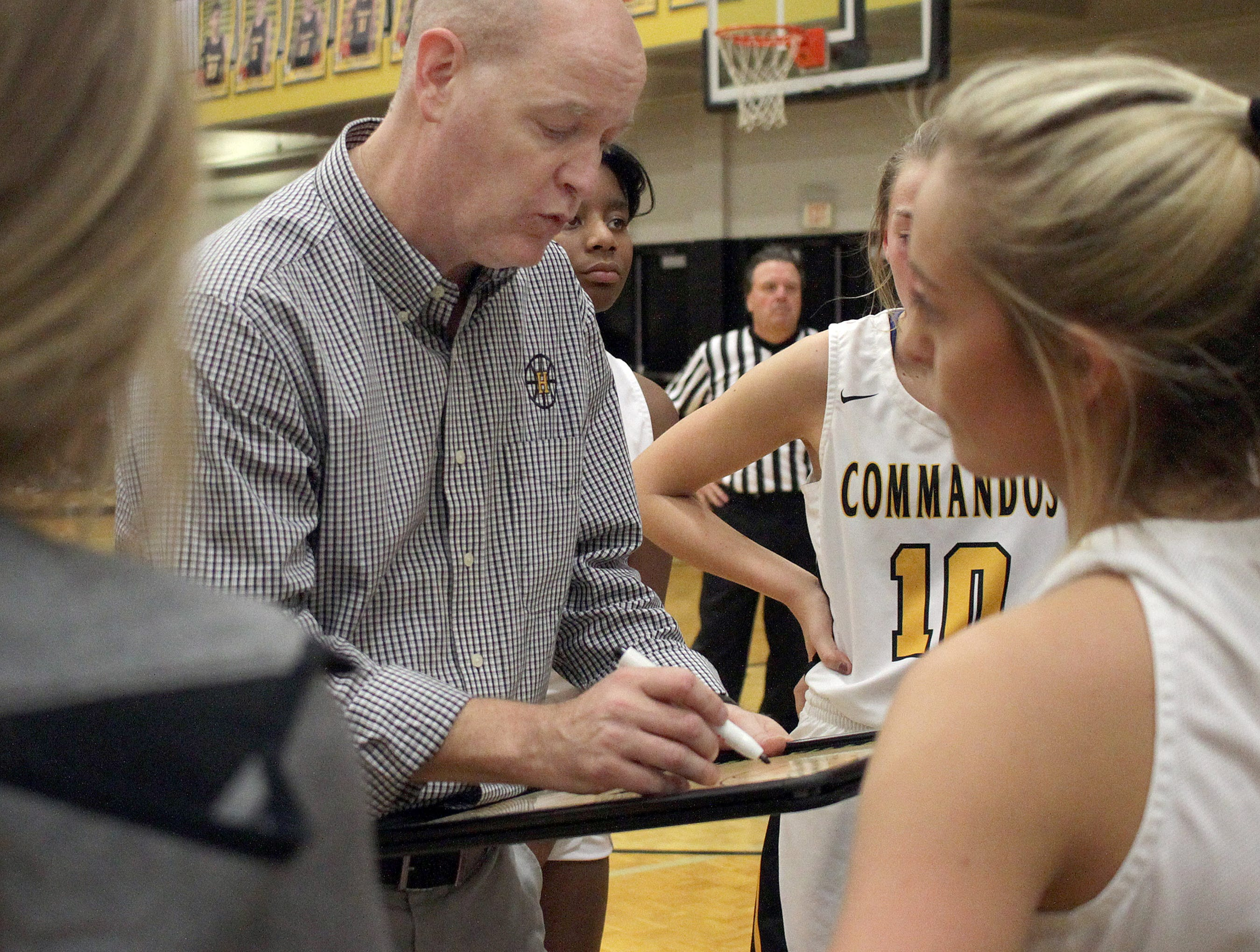 Hendersonville coach John Filson goes over a play with his team as they play Lebanon on Tuesday, December 11, 2018.