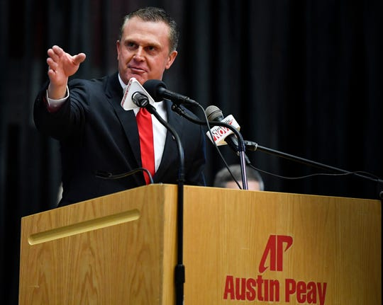 Austin Peay new football coach Mark Hudspeth addresses the audience at the Dunn Center Wednesday, Dec. 12, 2018, in Clarksville, Tenn.
