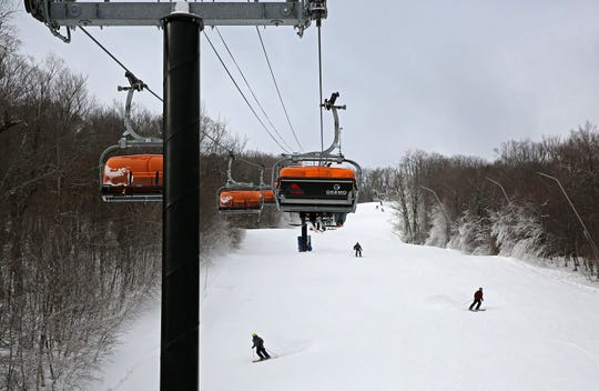 Skiers make turns under the Sunburst, a six-person heated high speed lift at Okemo Mountain Resort in Ludlow, Vt., on Sunday Dec. 9, 2018.