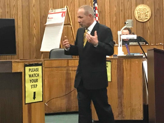 Defense attorney Matthew Cavaliere during closing arguments on Wednesday.