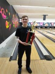 Eric McKenna of North Arlington bowling.