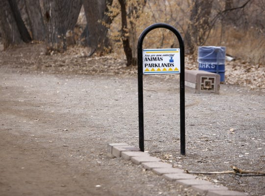 A sign indicates the Animas Park area along the river. Mayor Nate Duckett said the city does not want to build an aerial adventure park in Animas Park because it is important to maintain the quiet atmosphere there.