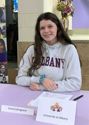 Emma Schlagheck signed her NCAA Division I letter of intent with the University of Albany (N.Y.).