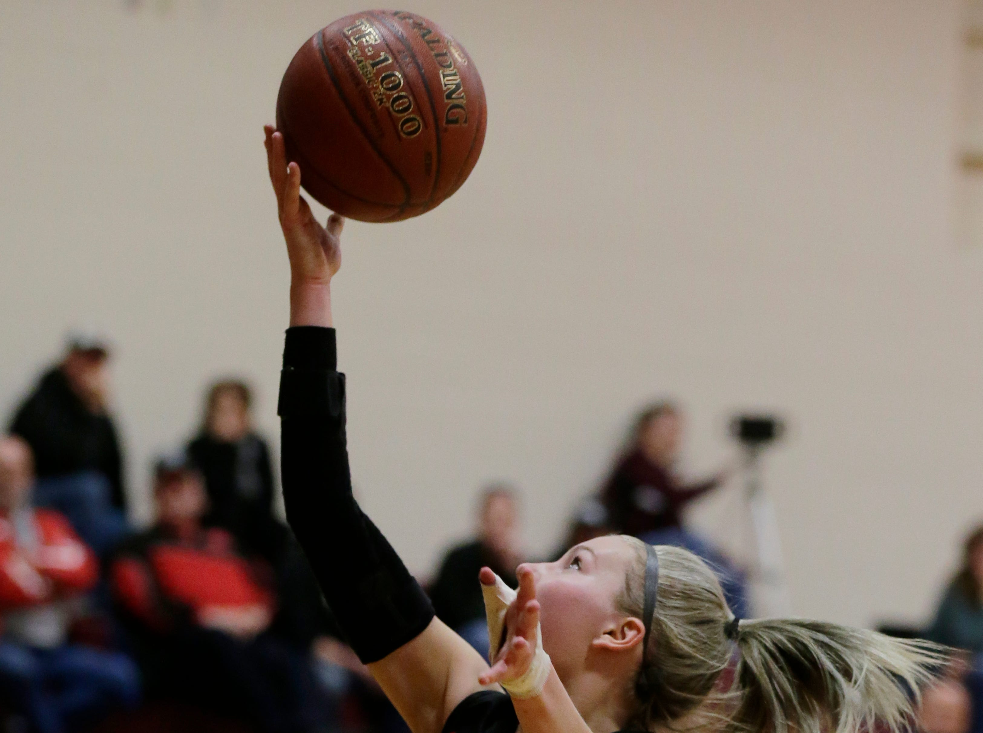 Lourdes Academy's Alexis Rolph goes in for a layup in the first half. Winneconne Wolves played Lourdes Academy Knights, Tuesday, Dec. 11, 2018.  Winneconne won 56 - 44.