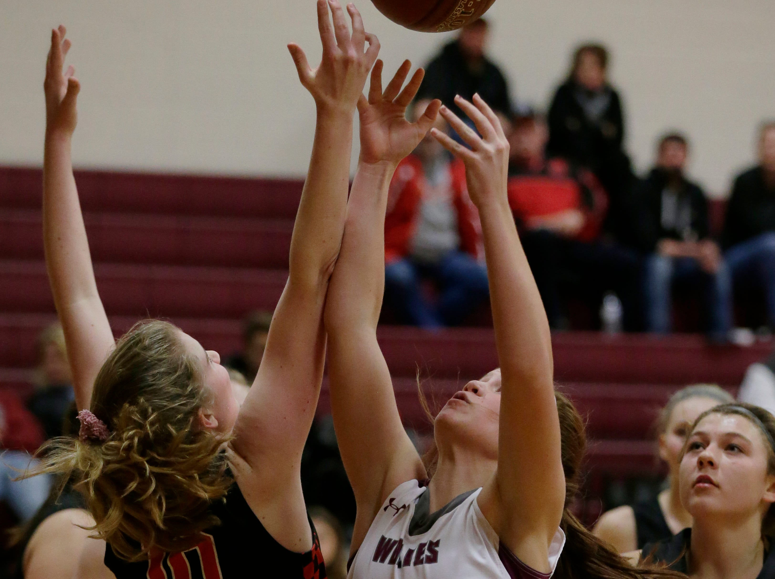 Winneconne's Summer Fournier and Lourdes Academy's Paige Droessler battle for a rebound. Winneconne Wolves played Lourdes Academy Knights, Tuesday, Dec. 11, 2018.  Winneconne won 56 - 44.