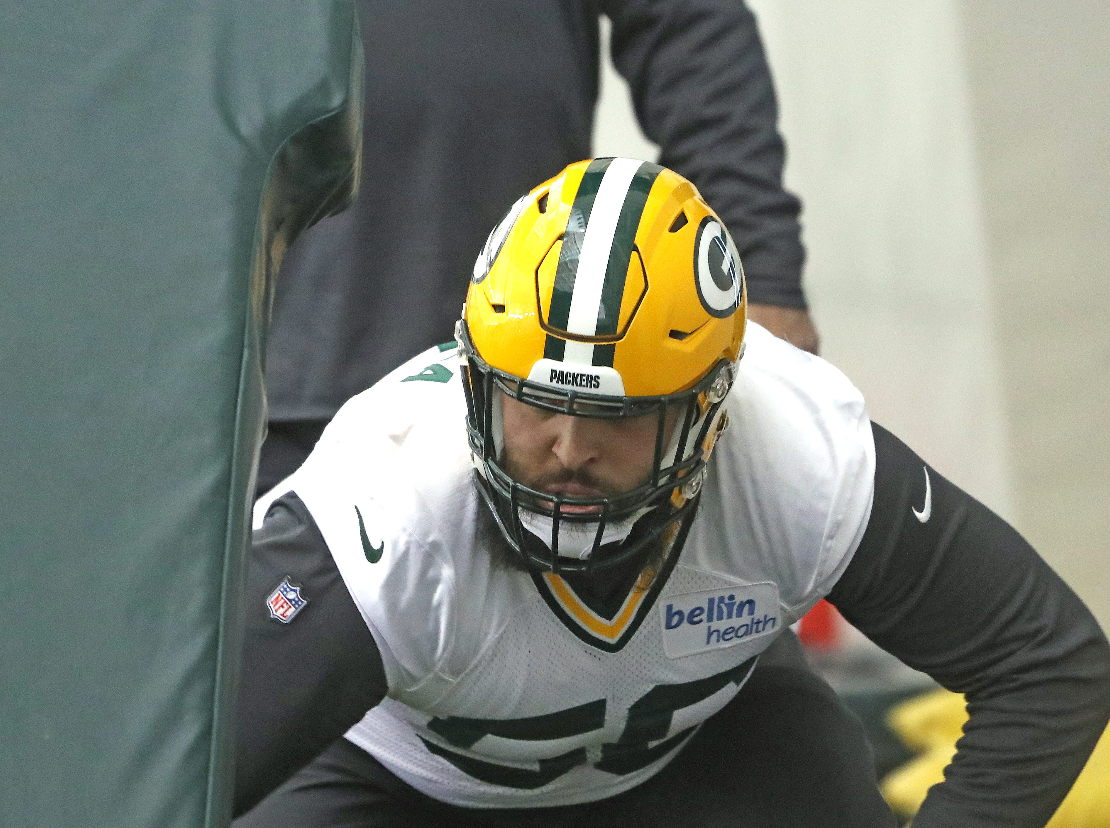 Green Bay Packers newly signed offensive guard Nico Siragusa during practice Wednesday, December 12, 2018 in the Don Hutson Center in Ashwaubenon, Wis.