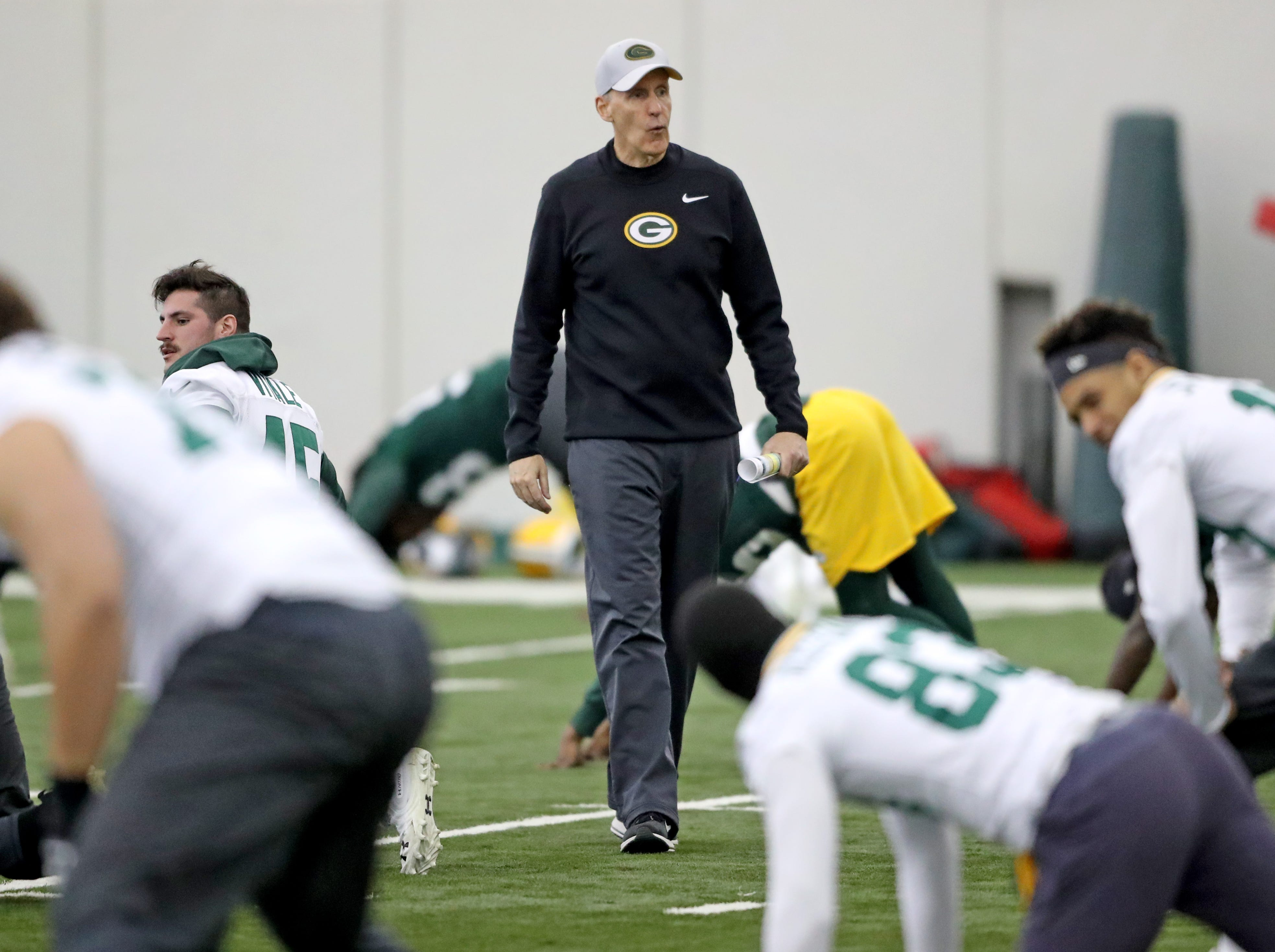 Green Bay Packers interim head coach Joe Philbin during practice Wednesday, December 12, 2018 in the Don Hutson Center in Ashwaubenon, Wis.