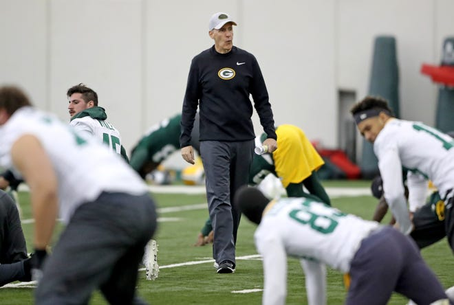 Green Bay Packers interim head coach Joe Philbin during practice Wednesday, December 12, 2018 in the Don Hutson Center in Ashwaubenon, Wis.