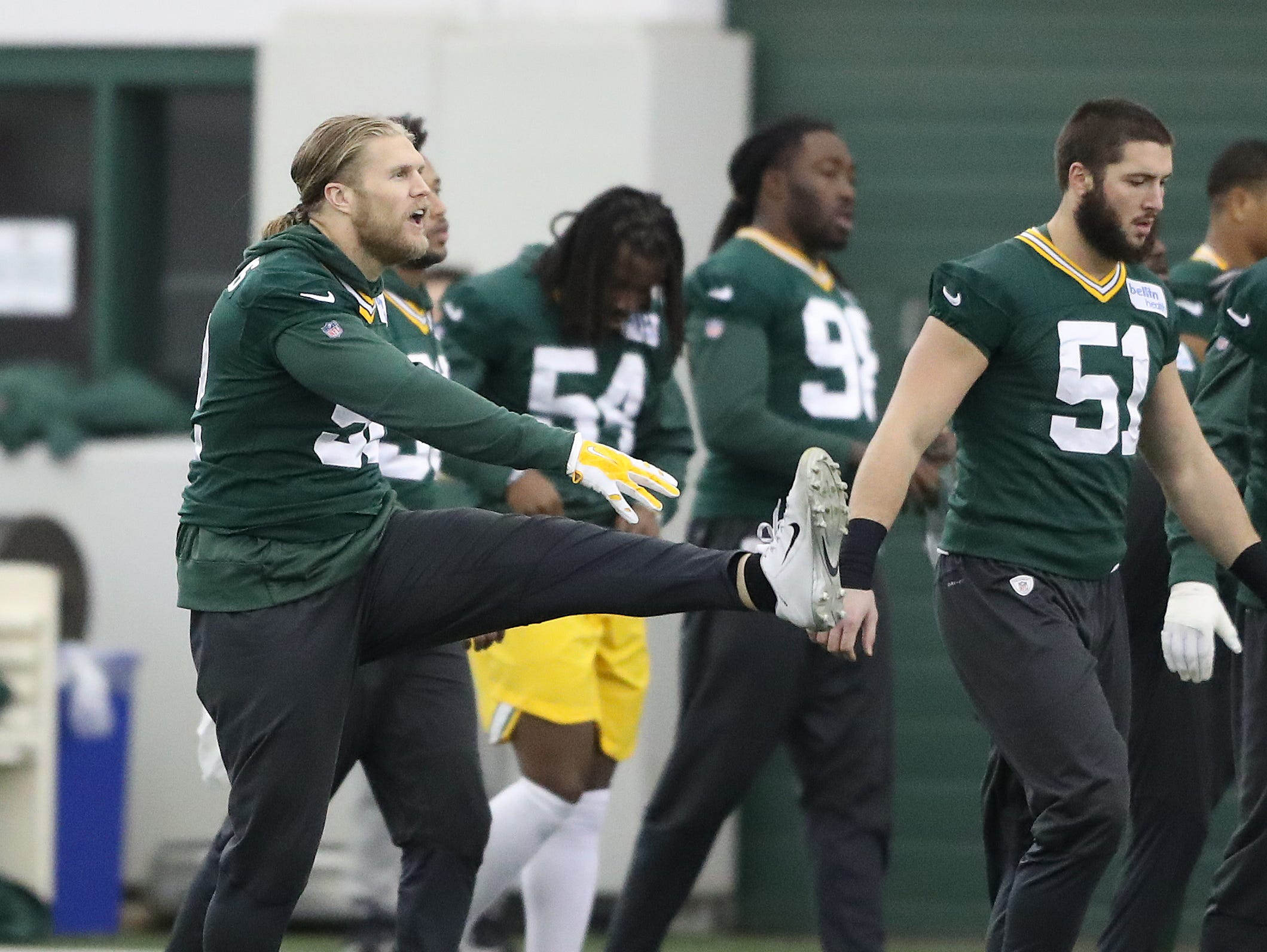 Green Bay Packers outside linebacker Clay Matthews (52) warms up during practice Wednesday, December 12, 2018 in the Don Hutson Center in Ashwaubenon, Wis.