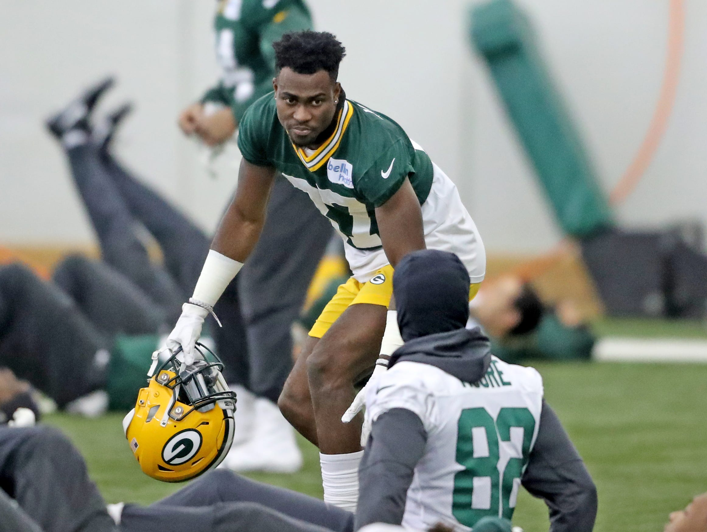 Green Bay Packers cornerback Josh Jackson (37) talks with wide receiver J'Mon Moore (82) during practice Wednesday, December 12, 2018 in the Don Hutson Center in Ashwaubenon, Wis.