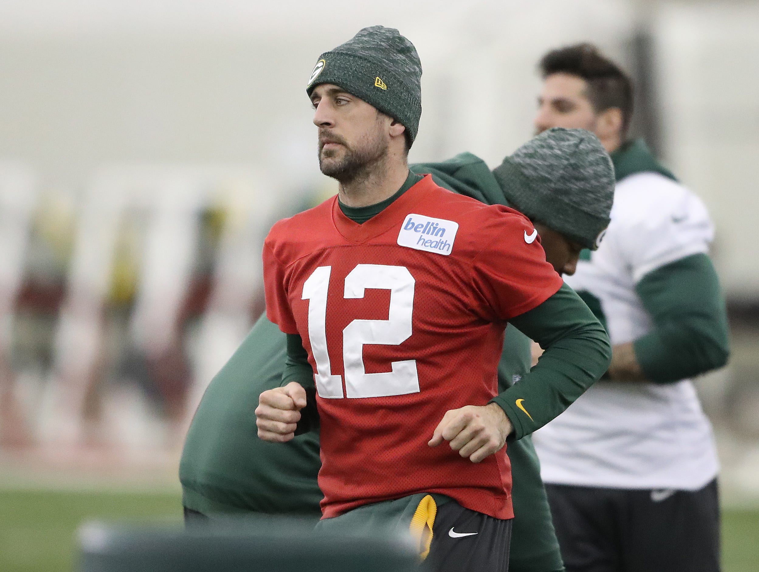 Green Bay Packers quarterback Aaron Rodgers (12) during practice Wednesday, December 12, 2018 in the Don Hutson Center in Ashwaubenon, Wis.