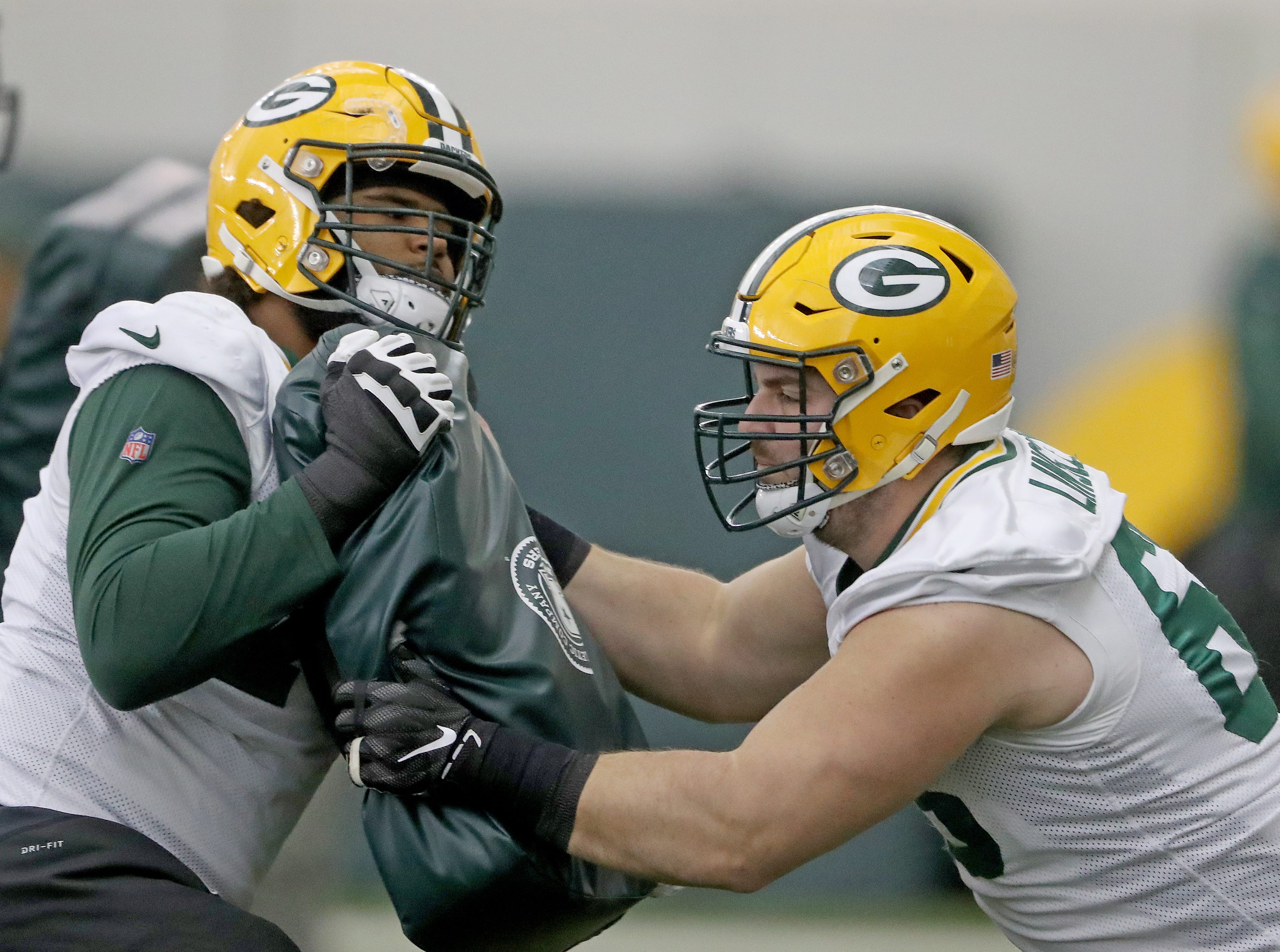 Green Bay Packers center Corey Linsley (63) drills during practice Wednesday, December 12, 2018 in the Don Hutson Center in Ashwaubenon, Wis.