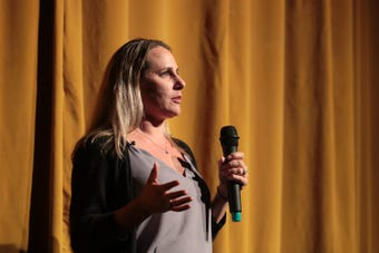 Lindsay Grant speaks at Coachella Valley Storytellers.