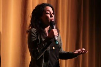 Samira Noorali speaks at the Coachella Valley Storytellers Project