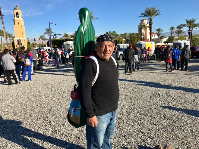 Ramon Echeverria, 53, from Morongo Valley participated in Wednesday's annual Lady of Guadalupe pilgrimage from Palm Springs to Coachella.