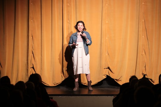 Nalani Hernandez-Melo tells a story at the Coachella Valley Storytellers Project, December 11, 2018.