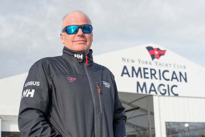 Terry Hutchinson, New York Yacht Club American Magic sailing team skipper and executive director, poses Wednesday in front of their facility at the Port of Pensacola.