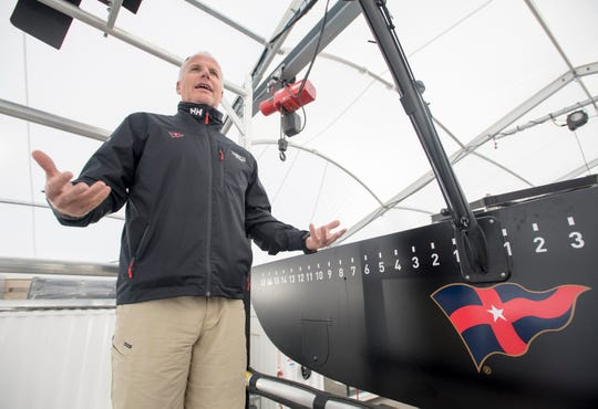 Terry Hutchinson, New York Yacht Club American Magic sailing team skipper and executive director, talks Wednesday about the facility at the Port of Pensacola and the ideal testing conditions the area offers.
