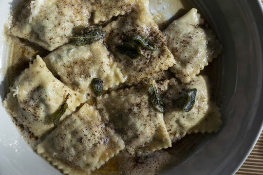 House-made Swiss chard ravioli with brown butter and sage at Fellow Osteria.