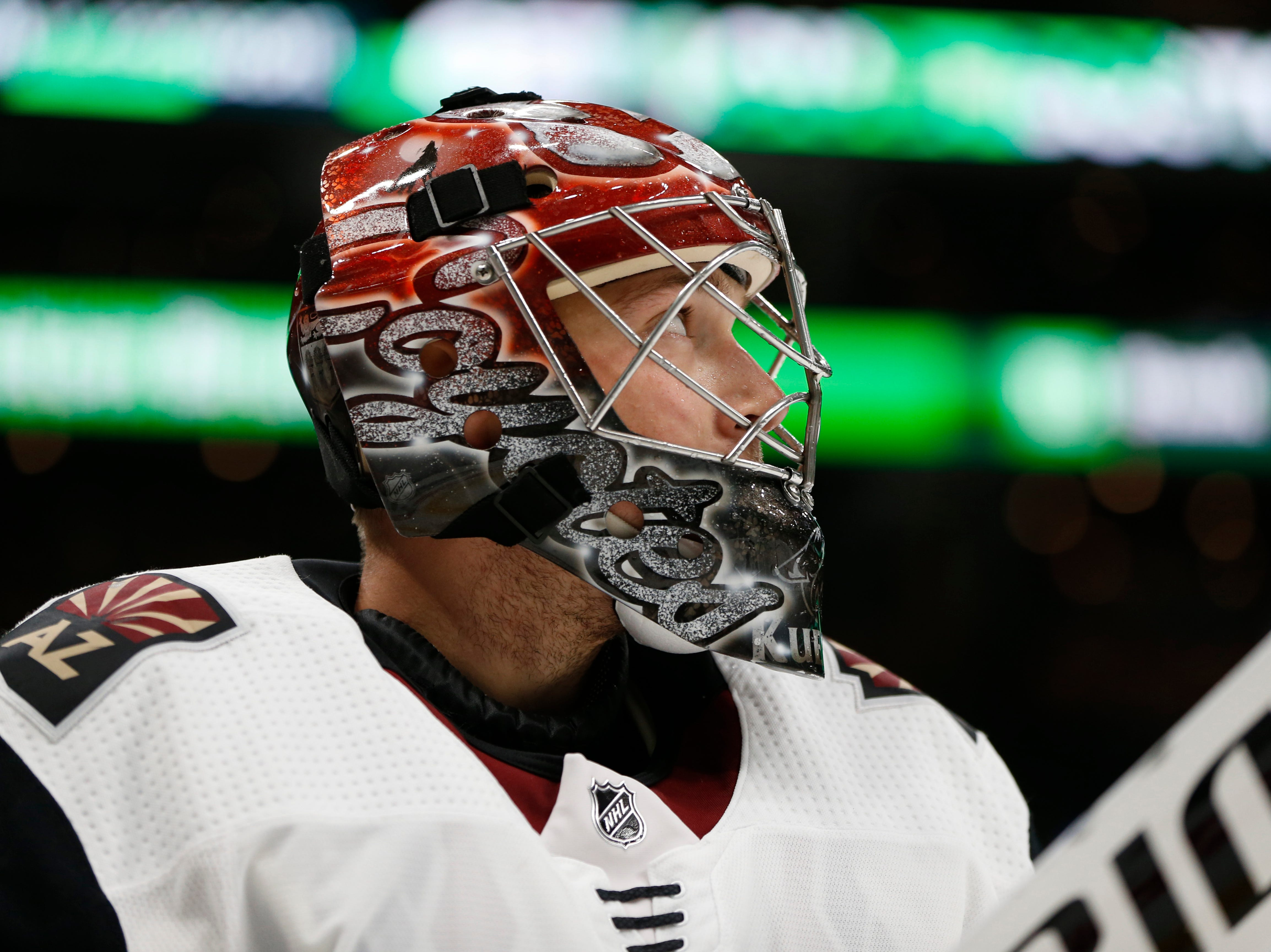 Dec 11, 2018; Boston, MA, USA; Arizona Coyotes goaltender Darcy Kuemper (35) reacts after giving up a goal to the Boston Bruins during the second period at TD Garden. Mandatory Credit: Greg M. Cooper-USA TODAY Sports