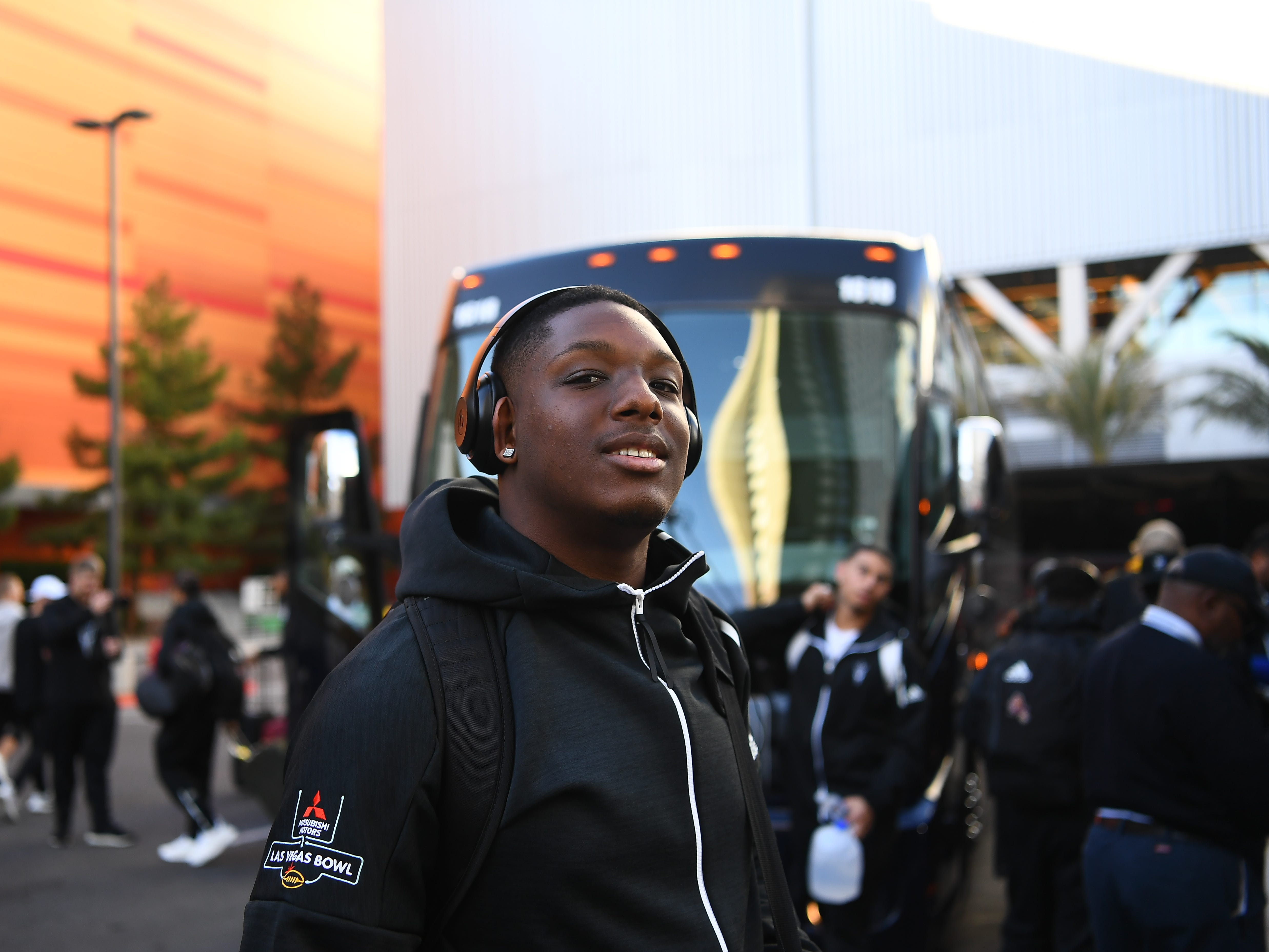 The ASU football team arrives at the Park MGM in Las Vegas on Tuesday.