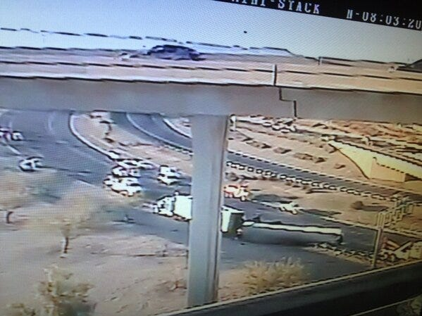 "A semitruck carrying coffee creamer rolled over on Interstate 10 in downtown Phoenix in 2013, coating more than 150 feet of road and shutting down traffic for almost 12 hours. One person tweeted that the freeway ""smells of french vanilla creamer."""