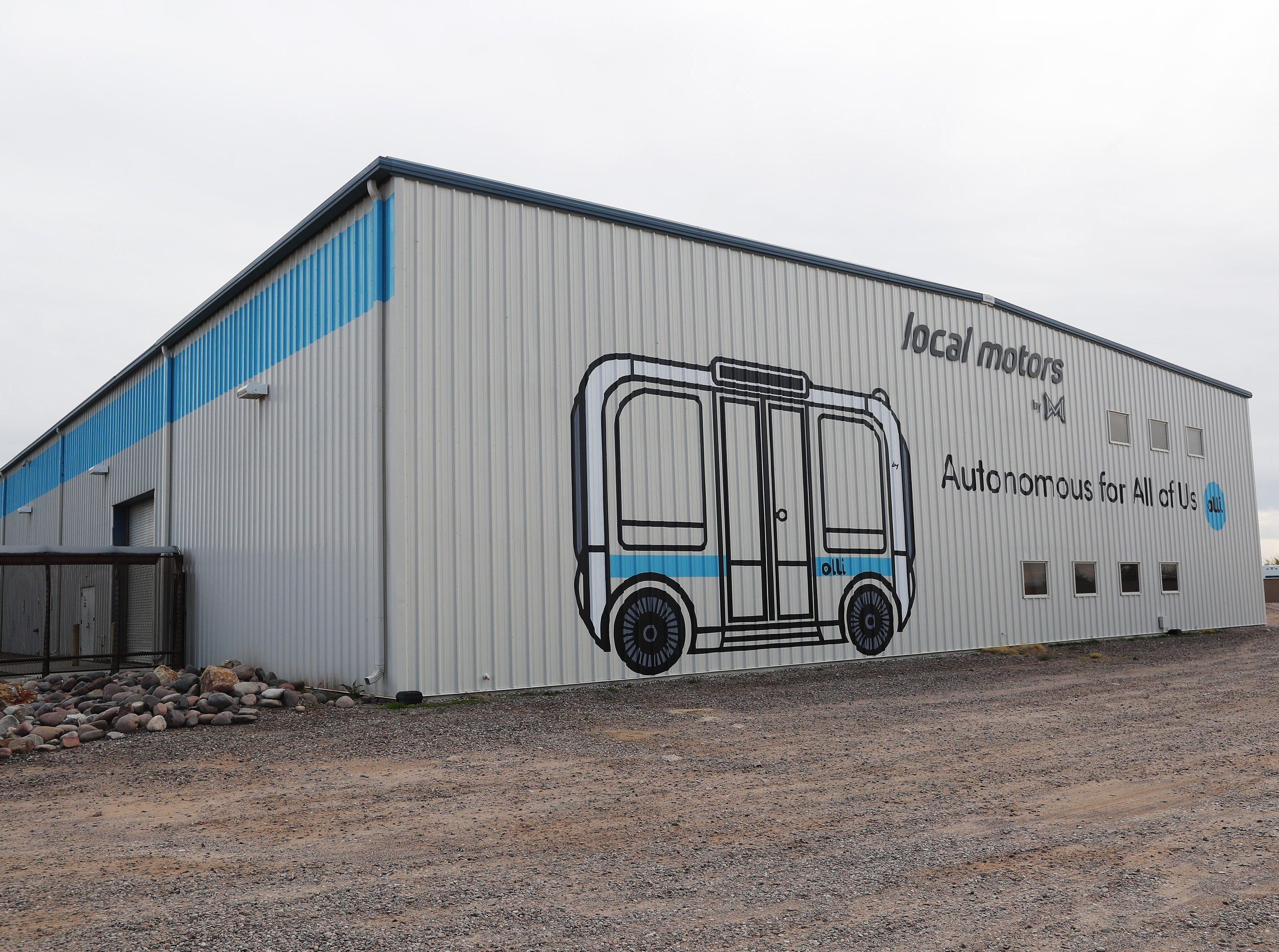 "Exterior of Local Motors in Chandler. The have developed driverless eight-passenger shuttles that they call ""Olli.""  They are giving some away in a contest, two to EVIT."