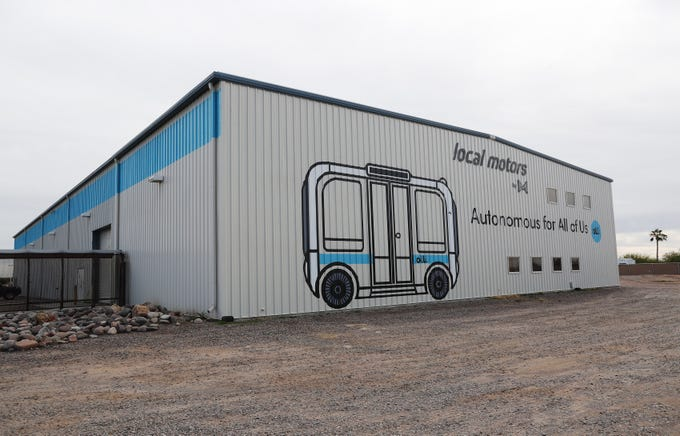 """Exterior of Local Motors in Chandler. The have developed driverless eight-passenger shuttles that they call """"Olli.""""  They are giving some away in a contest, two to EVIT."""