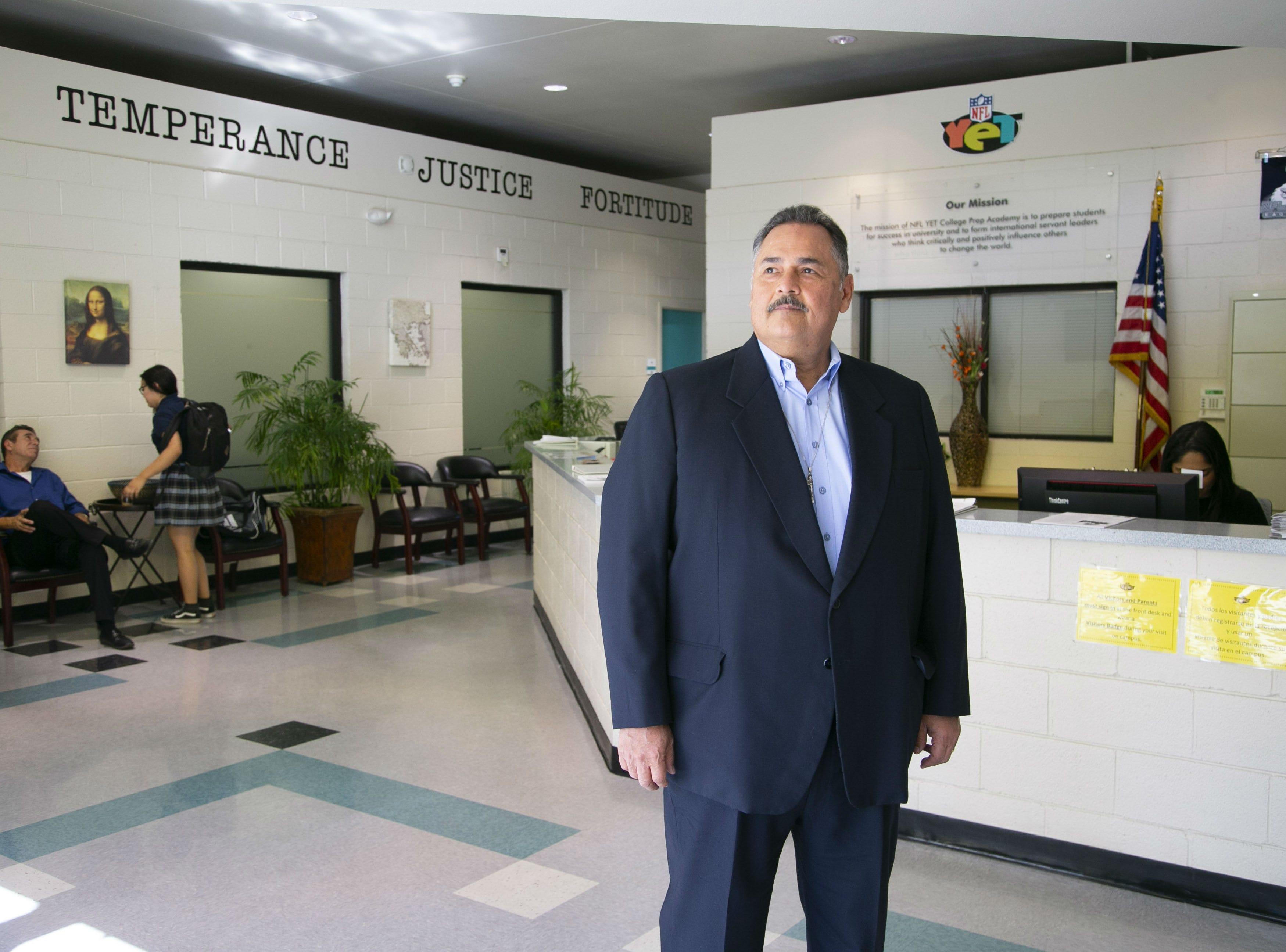 Armando Ruiz, a senior advisor with the Espiritu Community Development Corporation, is pictured at the NFL YET College Prep Academy, a charter school in south Phoenix, on Nov. 5, 2018. Espiritu Community Development Corporation controls several charter schools.