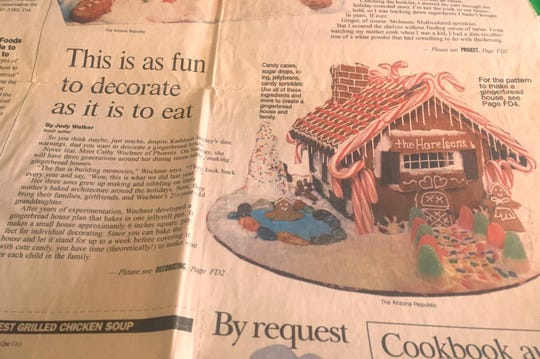 Dec. 2, 1998 edition of The Arizona Republic gave full directions on how to  make this house. It's been hiding in my recipes all these years.