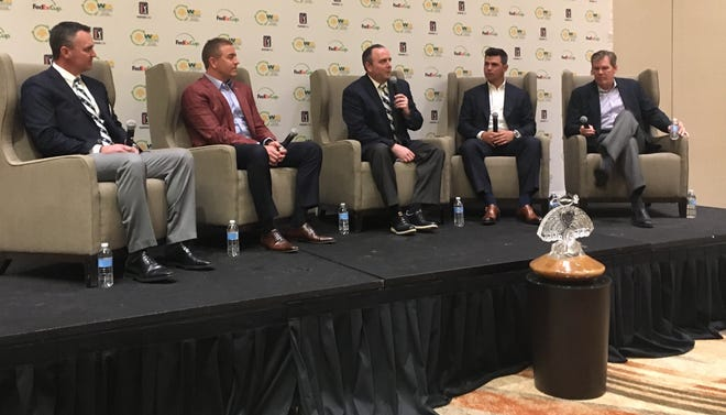 (From right) Chance Cozby, Kirk Herbstreit, Derrick Hall, Gary Woodland and James C. Fish Jr. hold a press conference before the Waste Management Phoenix Open Tee-Off Luncheon.