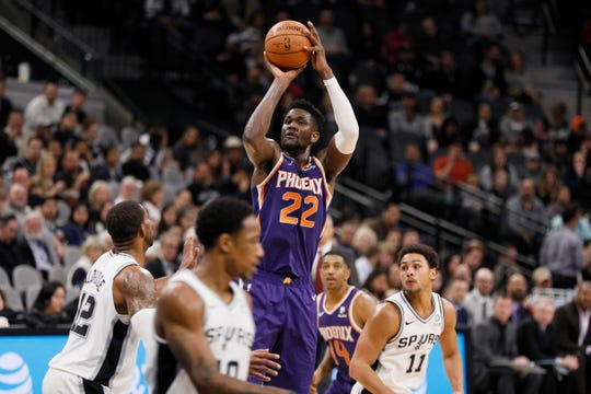 Deandre Ayton is averaging 16.6 points with 10.9 rebounds per game for the Suns.
