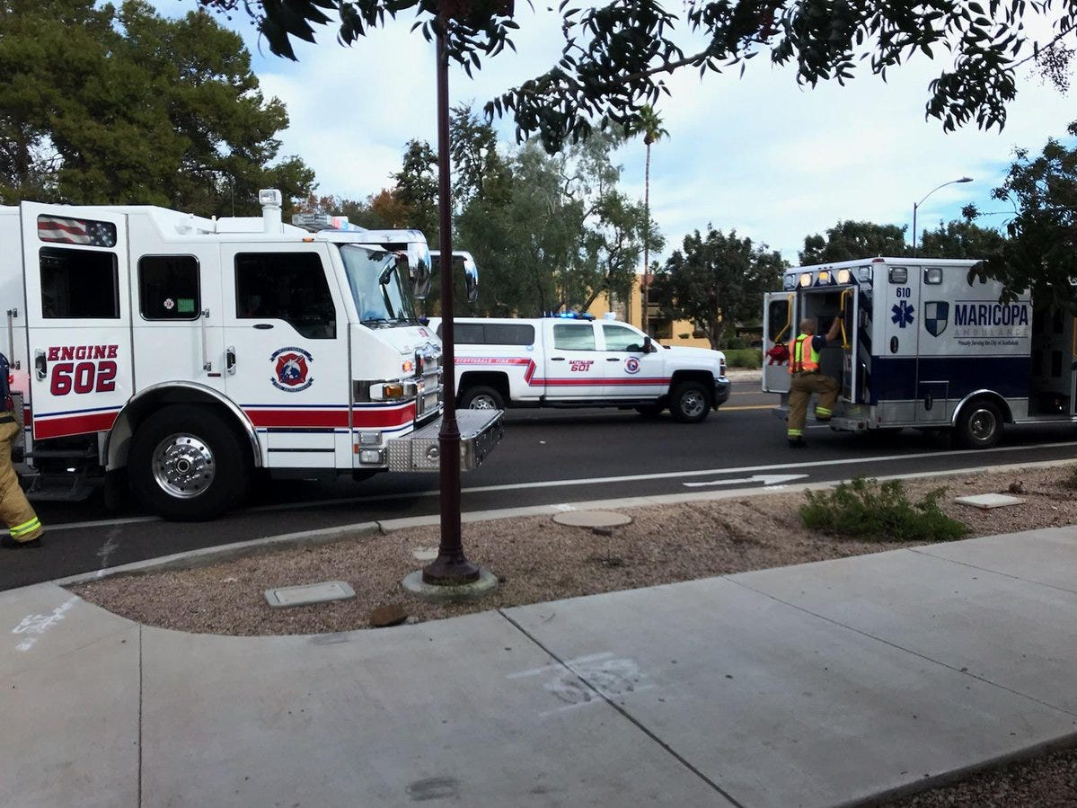 A woman in a wheelchair was injured when she was struck by a dump truck Wednesday in Scottsdale, according to fire officials.