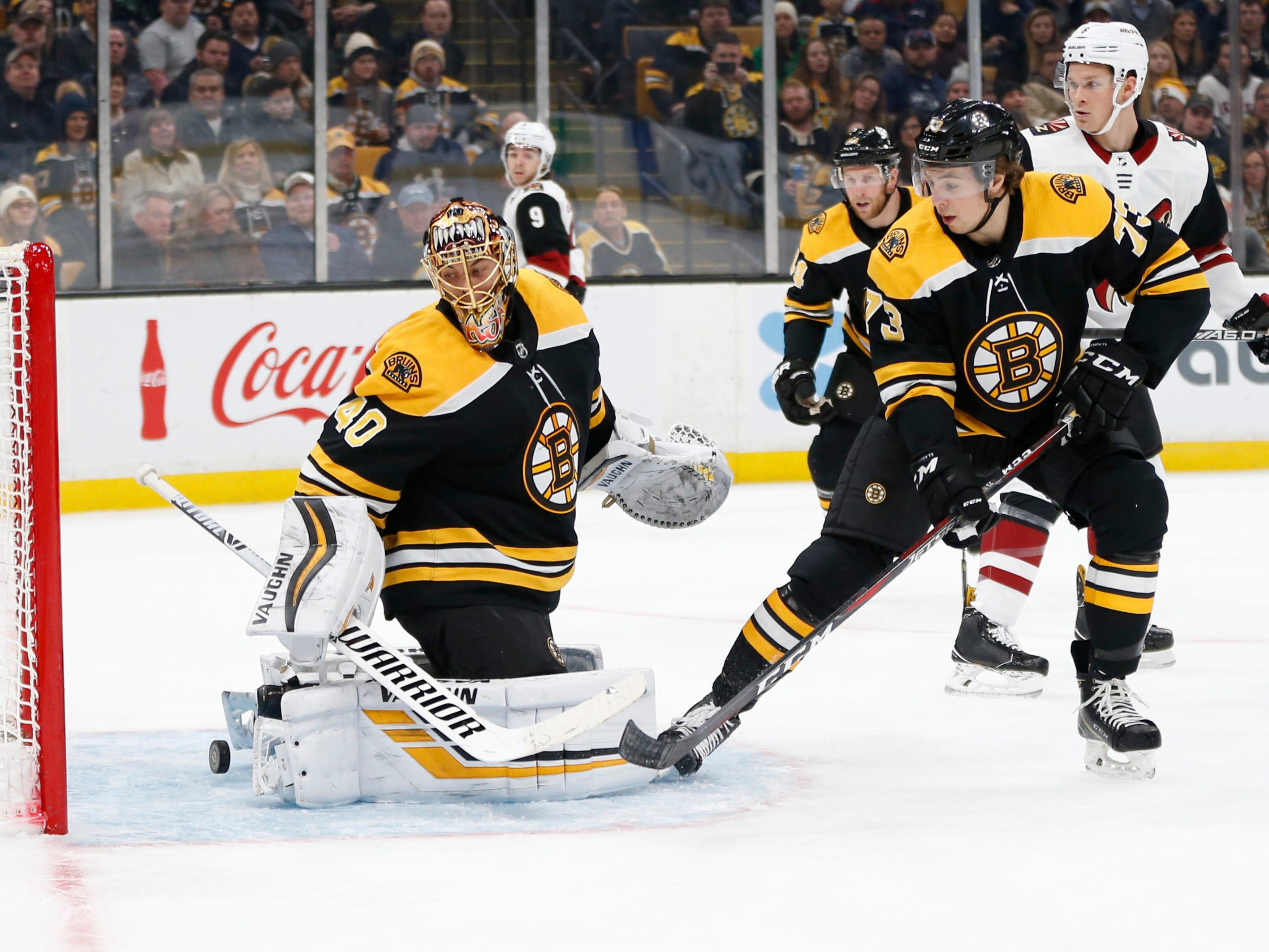 Dec 11, 2018; Boston, MA, USA; Boston Bruins goaltender Tuukka Rask (40) looks over his back at the goal scored by Arizona Coyotes center Nick Schmaltz (not pictured) during the first period at TD Garden. Mandatory Credit: Greg M. Cooper-USA TODAY Sports