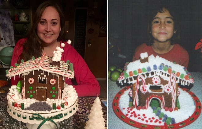 Lucy Bernal with the completed gingerbread houses in 2018 and 1998.