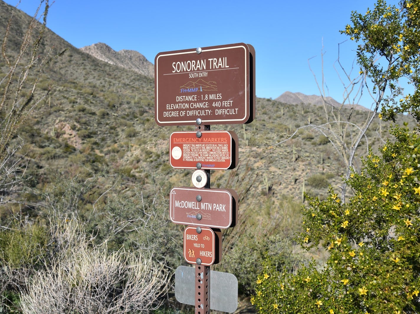 Trail junction for the loop hike.
