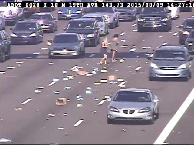 "ADOT tweeted in 2015, ""It's a run on shoes and it's not at the dept store! Debris/shoes blocking the left lanes on I-10 WB at 19th Ave."""